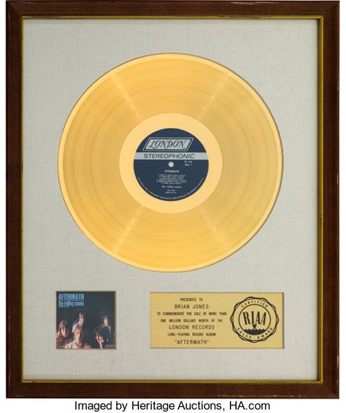 The Rolling Stones Aftermath RIAA White Matte Gold Sales
