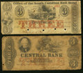 Obsoletes By State:Mixed States, Montgomery, AL- Central Bank of Alabama $3 Faded (ca. 1856) Very Good;. Charleston, SC- Office of the South Carolina R... (Total: 2 notes)