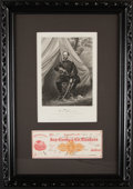 Autographs:Checks, 1874 General William T. Sherman Signed Personal Check Display....