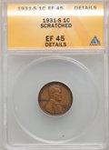 Lincoln Cents, 1931-S 1C -- Scratched -- ANACS. XF45 Details. Mintage 866,000....