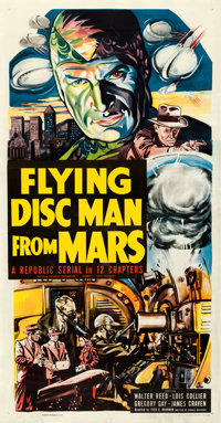 "Flying Disc Man from Mars (Republic, 1950). Very Fine- on Linen. Stock Three Sheet (41.5"" X 79.75"")"