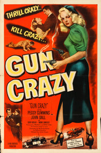 "Gun Crazy (United Artists, 1949). Folded, Fine/Very Fine. One Sheet (27"" X 41""). From the collection of Leonar..."