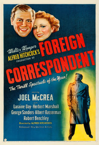 """Foreign Correspondent (United Artists, 1940). Fine+ on Linen. One Sheet (27"""" X 41"""")"""