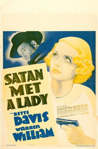 "Satan Met a Lady (Warner Brothers, 1936). Fine. Window Card (14"" X 21"")"