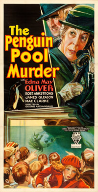 "The Penguin Pool Murder (RKO, 1932). Very Fine on Linen. Three Sheet (41"" X 80.5"")"