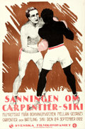"Movie Posters:Sports, The Truth About Carpentier vs. Siki (Svenska Filmkompaniet, 1922). Folded, Very Fine-. Swedish One Sheet (23.5"" X 35.5"").. ..."