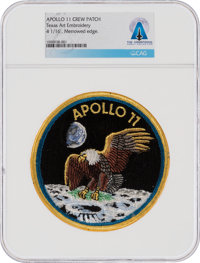 Apollo 11 Texas Art Embroidery Crew Patch of the Type Worn on Bio-Garments in Quarantine Directly From The Armstrong Fam...