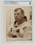 """Explorers:Space Exploration, Apollo 11: Neil Armstrong """"Deep In Thought"""" AP Press Wirephoto, July 16, 1969, Directly From The Armstrong Family Collecti..."""