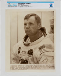 "Apollo 11: Neil Armstrong ""Deep In Thought"" AP Press Wirephoto, July 16, 1969, Directly From The Armstrong Fam..."