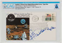 "Apollo 11 Flown Crew-Signed ""Type One"" Quarantine Cover, Hand-numbered NA-8 and Certified by Neil Armstrong, D..."