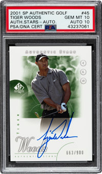 2001 Upper Deck SP Authentic Tiger Woods Autograph #45 PSA Gem Mint 10 - Auto 10 - Numbered 663/900