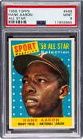 Baseball Cards:Singles (1950-1959), 1958 Topps Hank Aaron All-Star #488 PSA Mint 9 - None High...