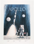 "Explorers:Space Exploration, Robert L. Rasmussen Signed Limited Edition ""Apollo: Navy to the Moon"" Print, #11/250, Signed by Four Naval Astronauts, Directl..."