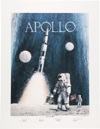 "Robert L. Rasmussen Signed Limited Edition ""Apollo: Navy to the Moon"" Print, #11/250, Signed by Four Naval Ast..."