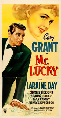 "Mr. Lucky (RKO, 1943). Very Fine on Linen. Three Sheet (41"" X 80.25"")"