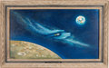 """Explorers:Space Exploration, Joseph Franklin Montague M.D. Original Painting """"Still in the Hollow of His Hand"""" Directly From The Armstrong Family Collectio..."""