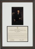 Explorers:Space Exploration, The Theodore Roosevelt American Experience Award Presented to Neil Armstrong Directly From The Armstrong Family Collection™, C...