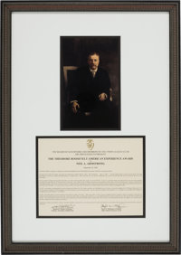 The Theodore Roosevelt American Experience Award Presented to Neil Armstrong Directly From The Armstrong Family Collecti...