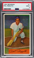 Baseball Cards:Singles (1950-1959), 1954 Bowman Phil Rizzuto #1 PSA Mint 9 - Only One Higher.