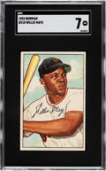 Baseball Cards:Singles (1950-1959), 1952 Bowman Willie Mays #218 SGC NM 7. The tremend...