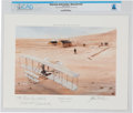 """Explorers:Space Exploration, """"Kitty Hawk, North Carolina December 17, 1903"""" Watercolor Print Inscribed to Neil Armstrong, 1989, Directly From The Armstrong..."""
