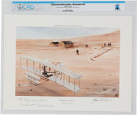 """Kitty Hawk, North Carolina December 17, 1903"" Watercolor Print Inscribed to Neil Armstrong, 1989, Directly Fr..."