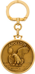 Explorers:Space Exploration, Apollo 11: Swiss 18K Gold Mission Insignia Medal on Keychain in Original Presentation Box Directly From The Armstrong Fami...