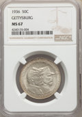 Commemorative Silver, 1936 50C Gettysburg MS67 NGC. NGC Census: (64/2). PCGS Population: (126/3). CDN: $1,700 Whsle. Bid for problem-free NGC/PCG...