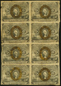 Fractional Currency:Second Issue, Fr. 1233 5¢ Second Issue Uncut Block of Eight Very Good-Fine.. ...