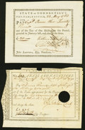 Colonial Notes:Connecticut, Connecticut Pay Table Office £20 May 22, 1783 XF;. Connecticut6s.6d September 24, 1790 VF, HOC. . ... (Total: 2 notes)