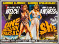 """Movie Posters:Fantasy, One Million Years B.C./She Combo (Warner Pathe, R-1968). Rolled, Very Fine-. British Quad (30"""" X 40""""). Tom William Chantrell..."""