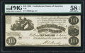 Confederate Notes:1861 Issues, T28 $10 1861 PF-10 Cr. 236B PMG Choice About Unc. 58 EPQ.. ...