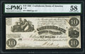 Confederate Notes:1861 Issues, T28 $10 1861 PF-10 Cr. 236B PMG Choice About Uncirculated 58.. ...