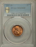 Lincoln Cents, 1927-D 1C MS65 Red PCGS. PCGS Population: (68/2 and 3/0+). NGC Census: (11/1 and 0/0+). CDN: $1,400 Whsle. Bid for problem-...