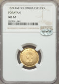 Colombia, Republic gold Escudo 1824-FM MS63 NGC,...