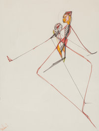 Miles Davis (American, 1926-1991) Prima Dancers Pen and ink on paper 13-1/2 x 10-1/4 inches (34.3