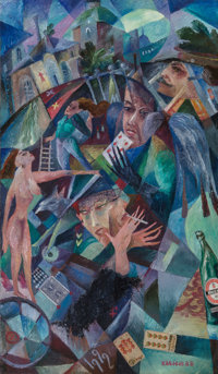 Vyacheslav Kalinin (Russian, b. 1939) Untitled, 1992 Oil on canvas 48 x 28 inches (121.9 x 71.1 c