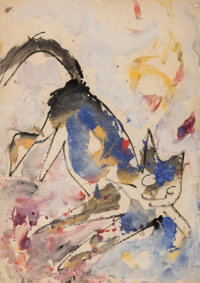 Anatoly Zverev (Russian, 1931-1986) Cat Watercolor on paper 24-1/4 x 17-1/2 inches (61.6 x 44.5 cm) Signed lower rig