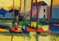 Paintings:Contemporary   (1950 to present), Marcel Mouly (French, 1918-2008). Bateaux Rouges à Honfleur, 1984. Acrylic on canvas. 8-3/4 x 13 inches (22.2 x 33.0 cm)...