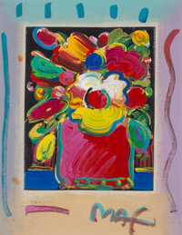 Peter Max (American, b. 1937) Untitled (Abstract Flowers), 1993 Lithograph and acrylic on paper laid on canvas 17-5/8