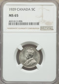 Canada, George V 5 Cents 1929 MS65 NGC, Ottawa mint, KM29....