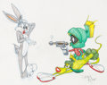 Animation Art:Production Drawing, Virgil Ross - Bugs Bunny, K-9, and Marvin the Martian Drawing Original Art (Warner Brothers, c. 1990s)....
