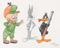 Animation Art:Production Drawing, Virgil Ross - Elmer Fudd, Daffy Duck, and Bugs Bunny DrawingOriginal Art (Warner Brothers, c. 1990s)....