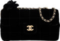 "Luxury Accessories:Bags, Chanel Black Quilted Velvet Small Shoulder Bag with Gold Hardware. Condition: 1. 7"" Width x 4"" Height x 2"" Depth. ..."