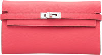 "Hermès Rose Lipstick Chevre Leather Kelly Classic Wallet with Palladium Hardware A, 2017 Condition: 1 8"" Wid..."
