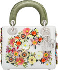 """Luxury Accessories:Bags, Christian Dior White & Green Flower Embellished Mini Lady Dior Bag. Condition: 1. 7"""" Width x 5.5"""" Height x 3"""" Depth..."""
