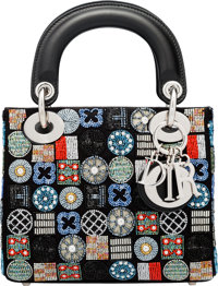 "Christian Dior Black Satin & Multicolor Embellished Mini Lady Dior Bag Condition: 1 7"" Width x 5.5"" He..."