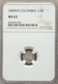 Colombia, Charles IV 1/4 Real 1808-NR MS63 NGC,...