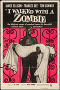 "Movie Posters:Horror, I Walked with a Zombie (RKO, R-1956). Folded, Fine/Very Fine. OneSheet (27"" X 41""). Horror.. ..."