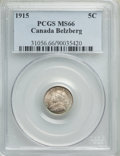 Canada, George V 5 Cents 1915 MS66 PCGS,...